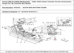 Ferrari part number 633222 GLOVE BOX BOTTOM COVER