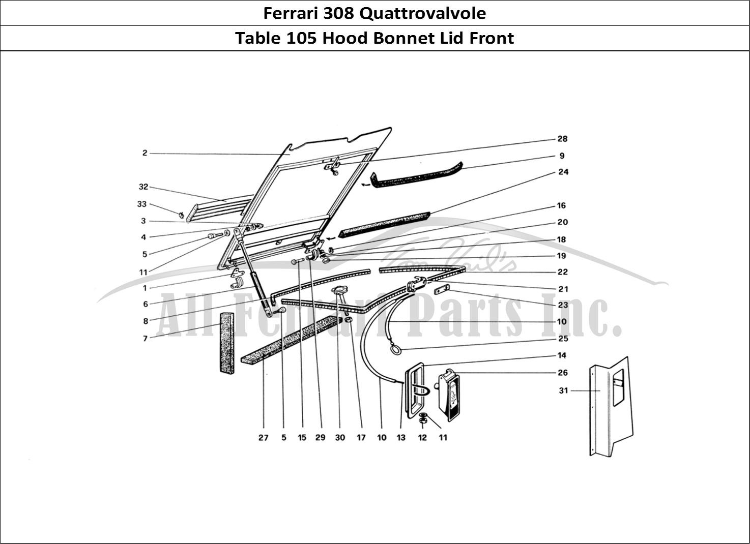 Buy original Ferrari 308 Quattrovalvole 105 Hood Bonnet