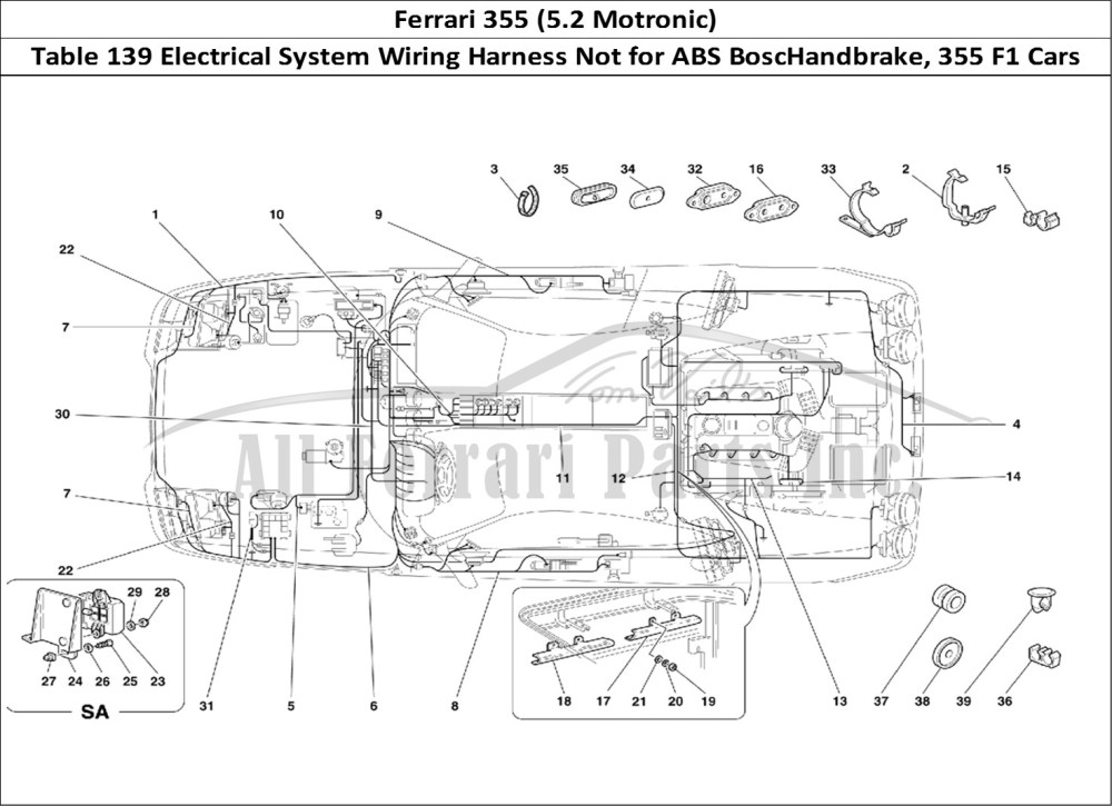 medium resolution of ferrari 355 5 2 motronic bodywork table 139 electrical system wiring harness not for abs boschandbrake 355 f1 cars