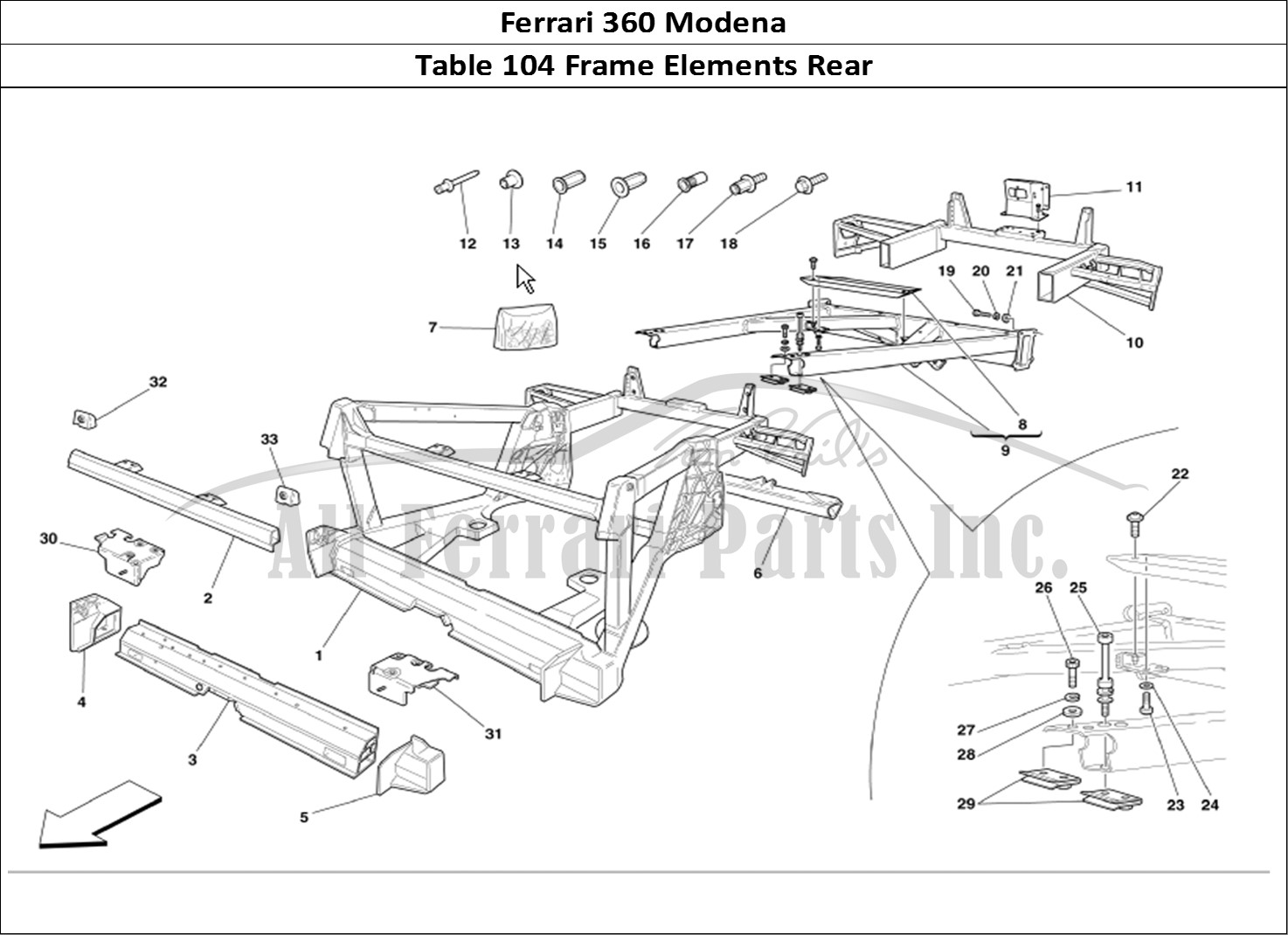 Buy original Ferrari 360 Modena 104 Frame Elements Rear