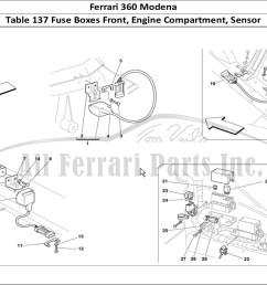 ferrari 360 modena bodywork table 137 fuse boxes front engine compartment sensor [ 1474 x 1070 Pixel ]