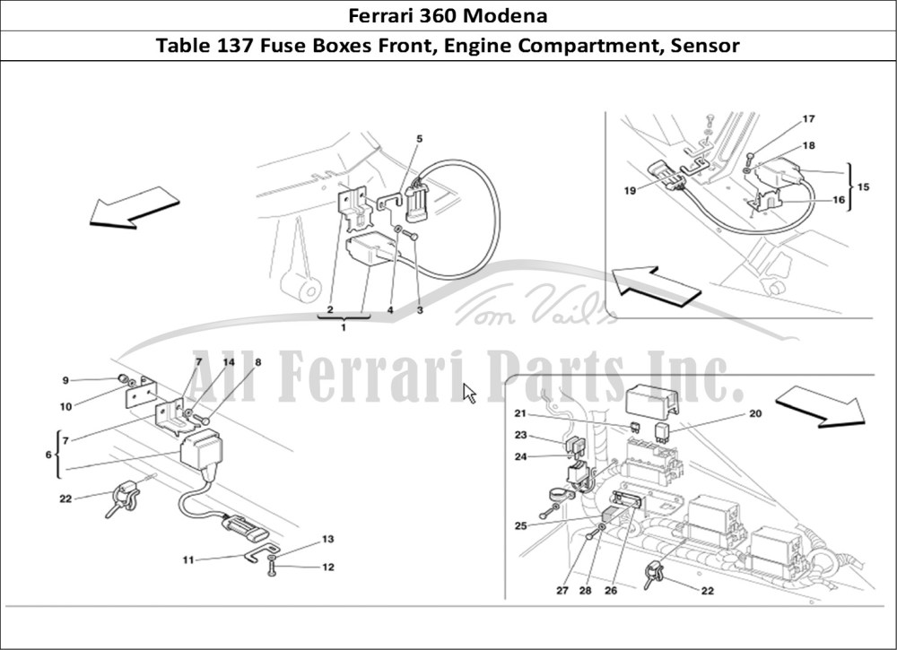 medium resolution of ferrari 360 modena bodywork table 137 fuse boxes front engine compartment sensor