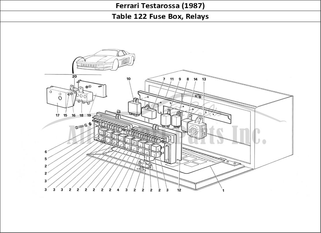 hight resolution of ferrari testarossa 1987 bodywork table 122 fuse box relays