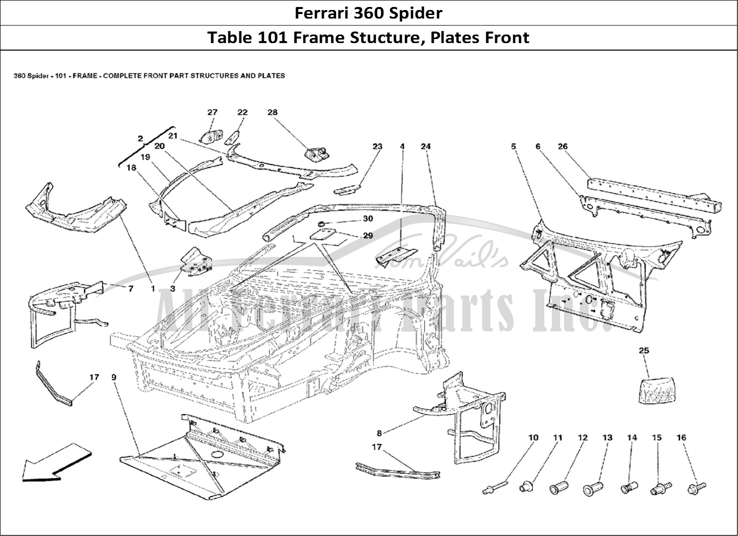 Buy original Ferrari 360 Spider 101 Frame Stucture, Plates