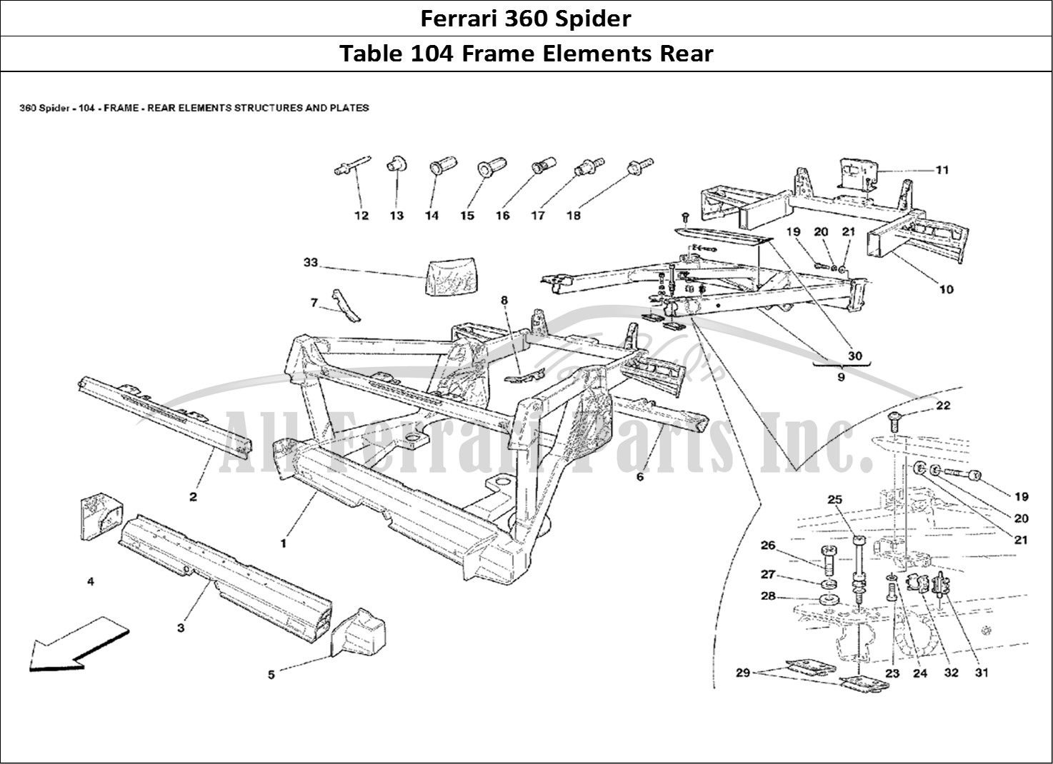 Buy original Ferrari 360 Spider 104 Frame Elements Rear