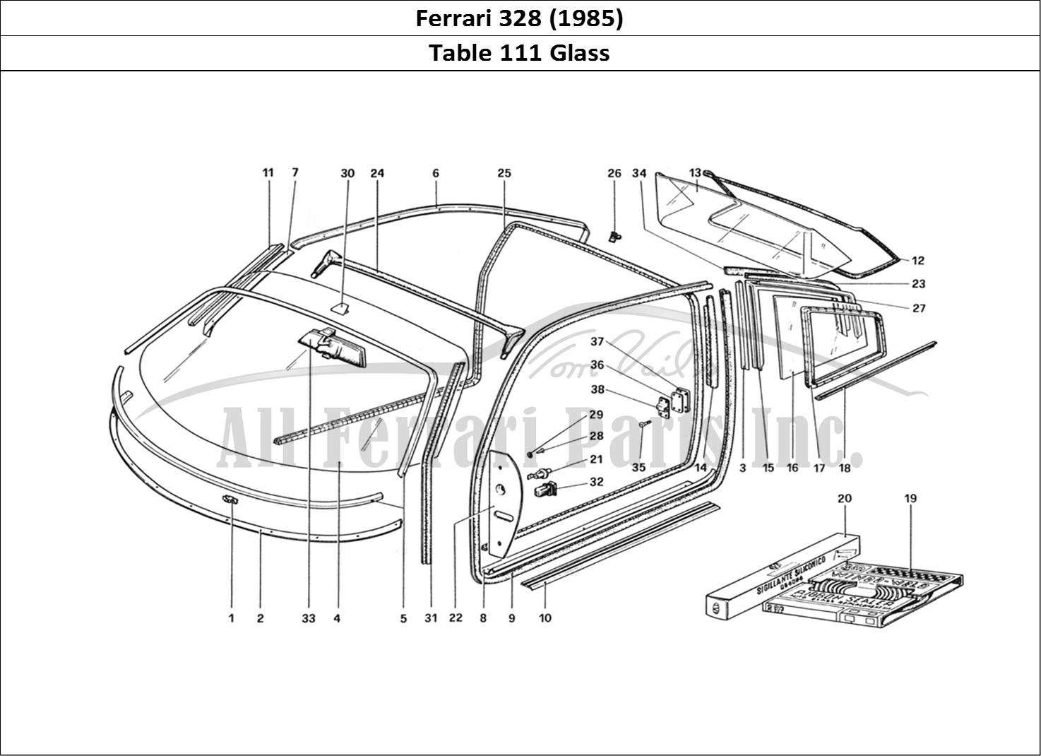 Buy original Ferrari 328 (1985) 111 Glass Ferrari parts