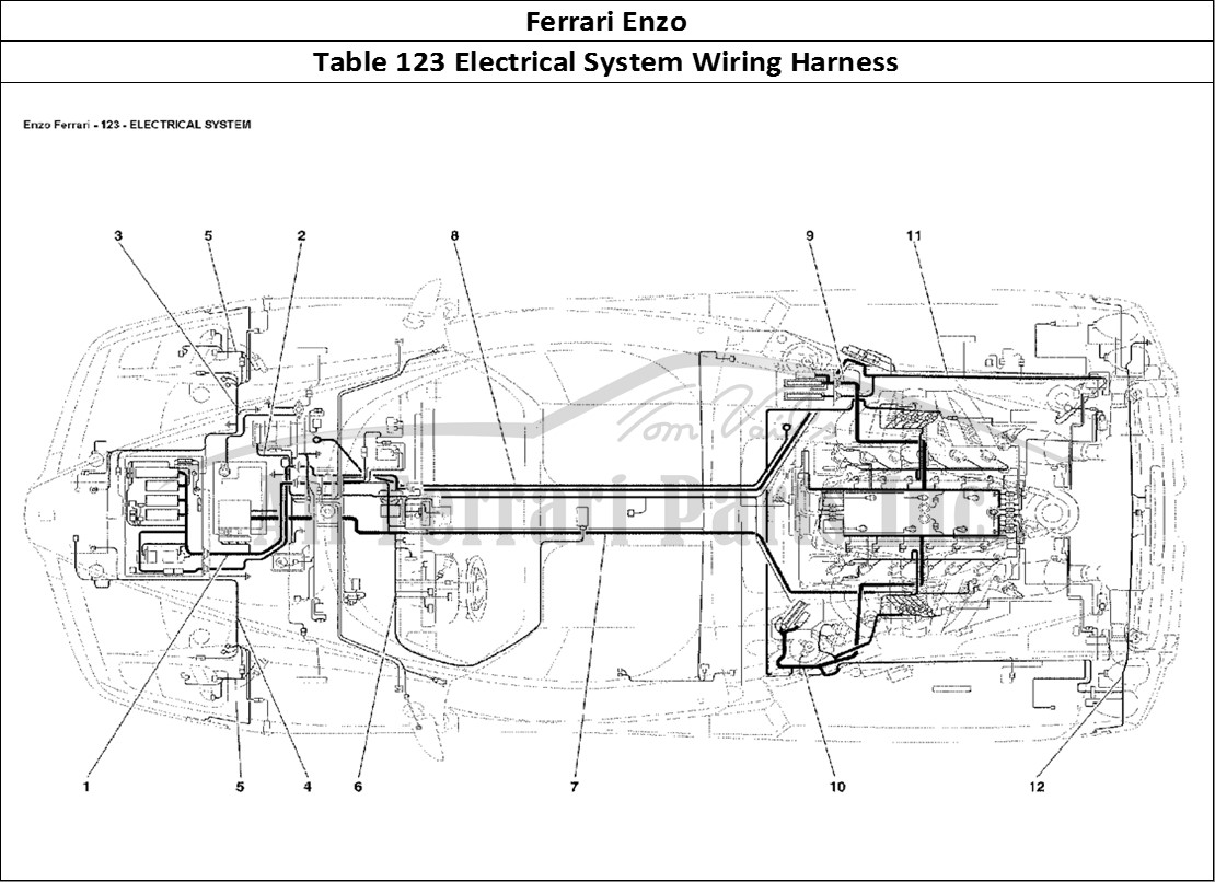 hight resolution of ferrari enzo bodywork table 123 electrical system wiring harness
