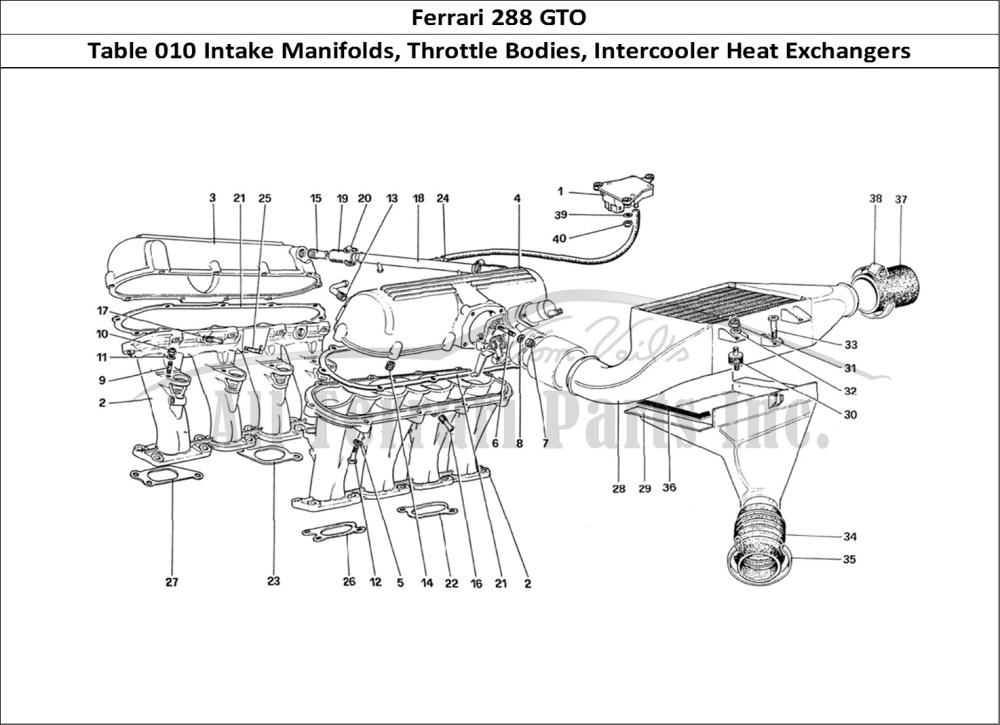 medium resolution of ferrari 288 gto mechanical table 010 intake manifolds throttle bodies intercooler heat exchangers