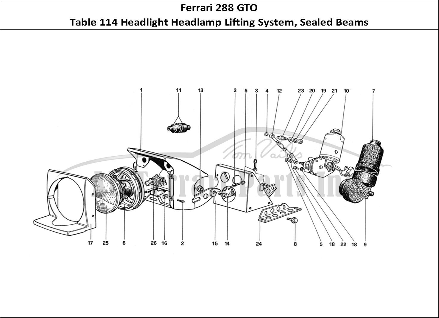 Buy original Ferrari 288 GTO 114 Headlight Headlamp