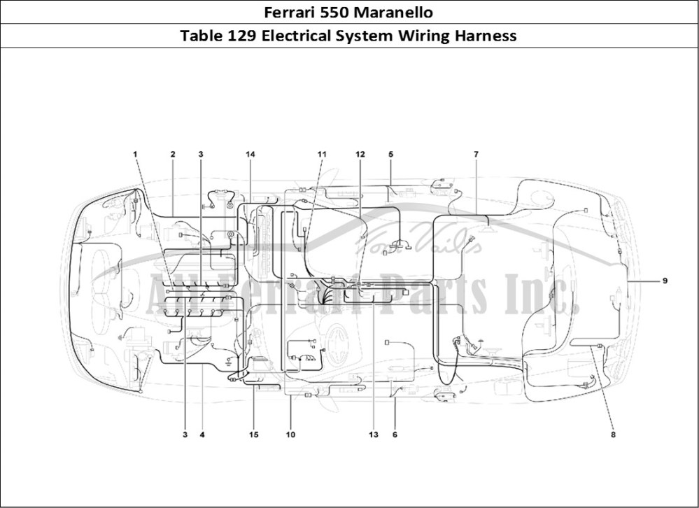 medium resolution of ferrari 550 maranello bodywork table 129 electrical system wiring harness