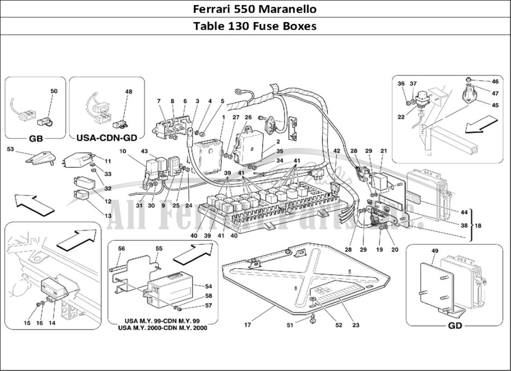 medium resolution of ferrari 550 maranello bodywork table 130 fuse boxes