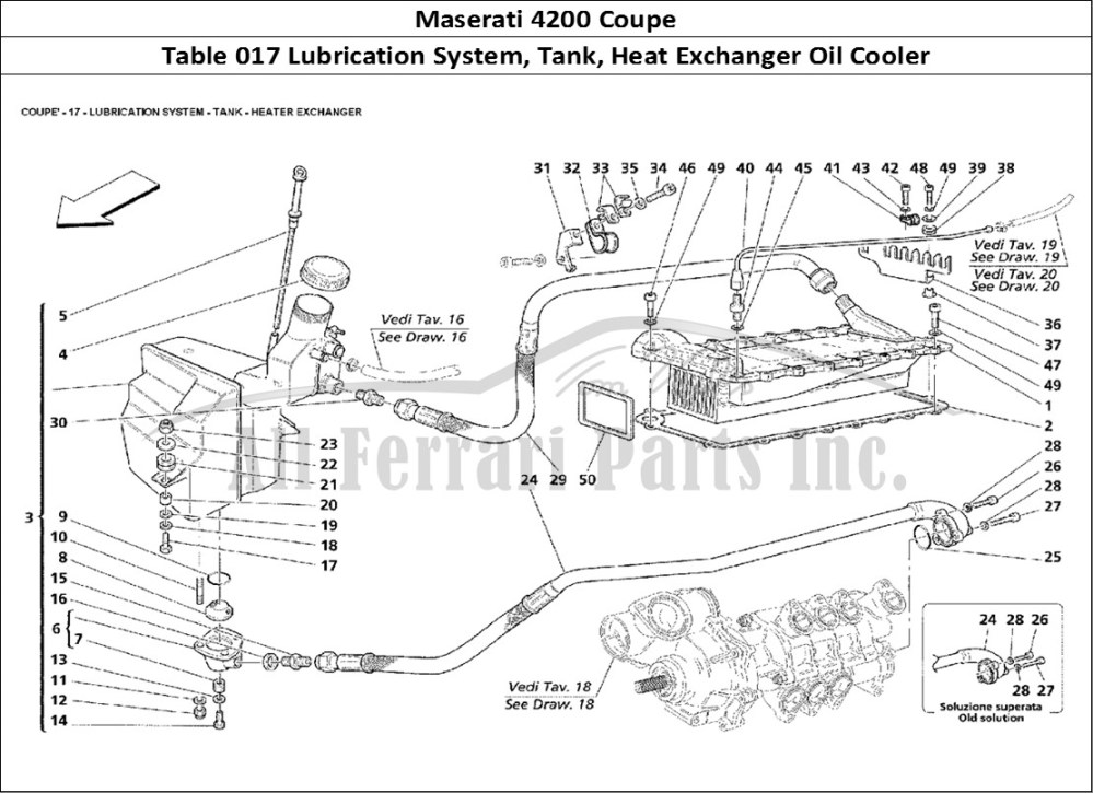 medium resolution of maserati 4200 coupe mechanical table 017 lubrication system tank heat exchanger oil cooler