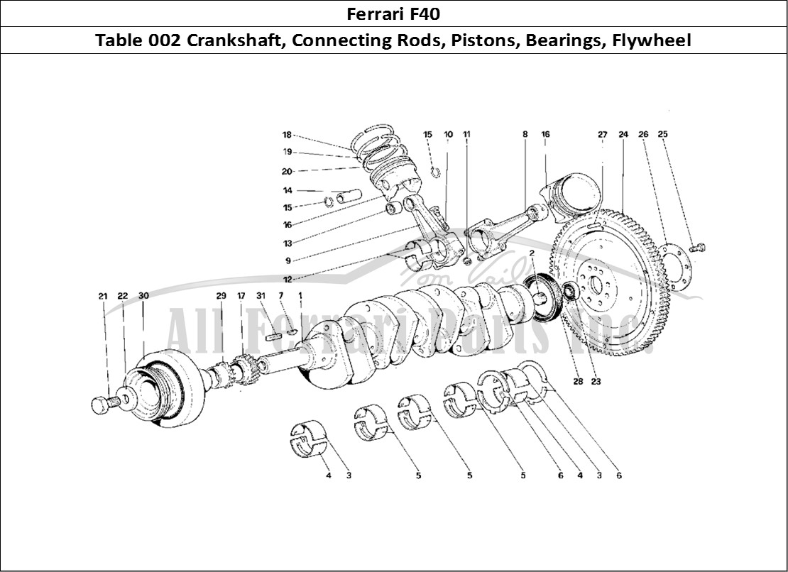Buy original Ferrari F40 002 Crankshaft, Connecting Rods