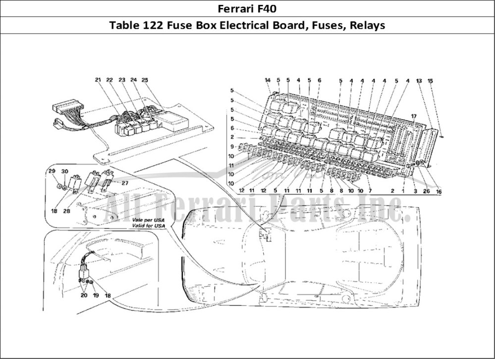 medium resolution of ferrari f40 bodywork table 122 fuse box electrical board fuses relays