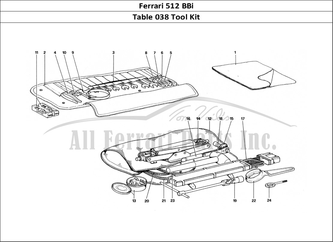Buy original Ferrari 512 BBi 038 Tool Kit Ferrari parts
