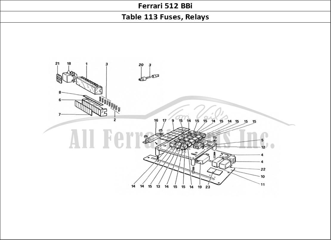 Buy original Ferrari 512 BBi 113 Fuses, Relays Ferrari