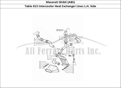small resolution of maserati ghibli abs mechanical table 015 intercooler heat exchanger lines l h side