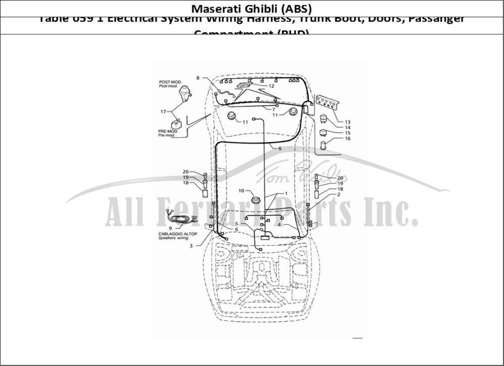 medium resolution of maserati ghibli abs bodywork table 059 1 electrical system wiring harness trunk boot doors passanger compartment rhd