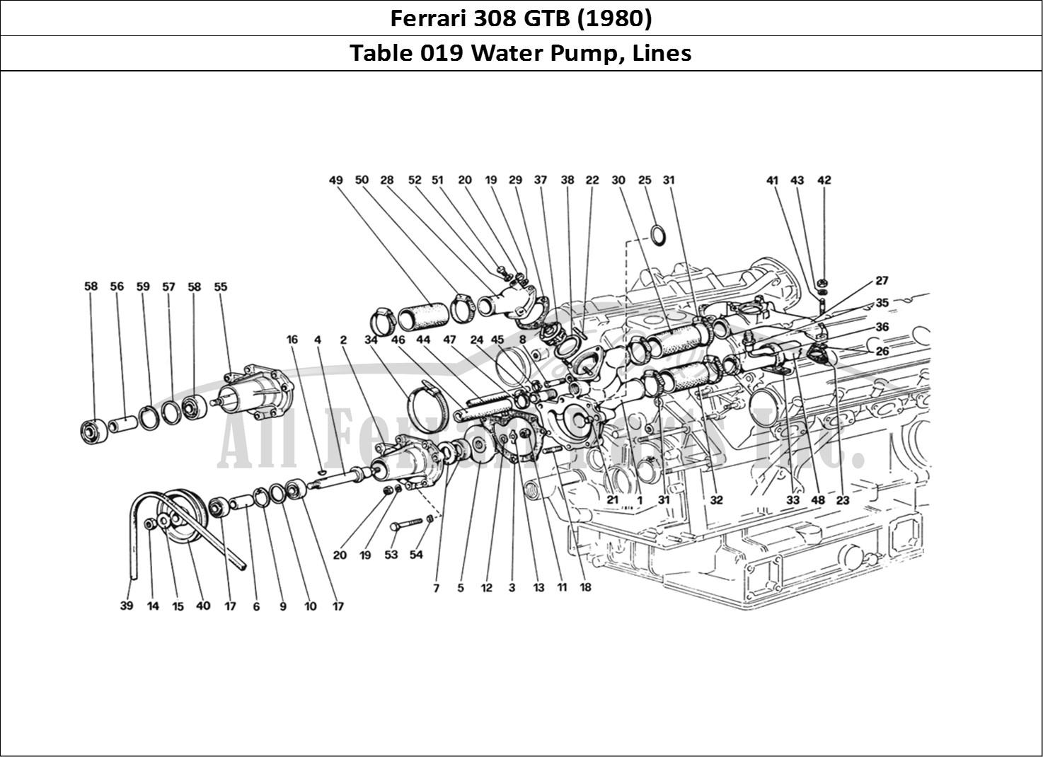 Buy original Ferrari 308 GTB (1980) 019 Water Pump, Lines