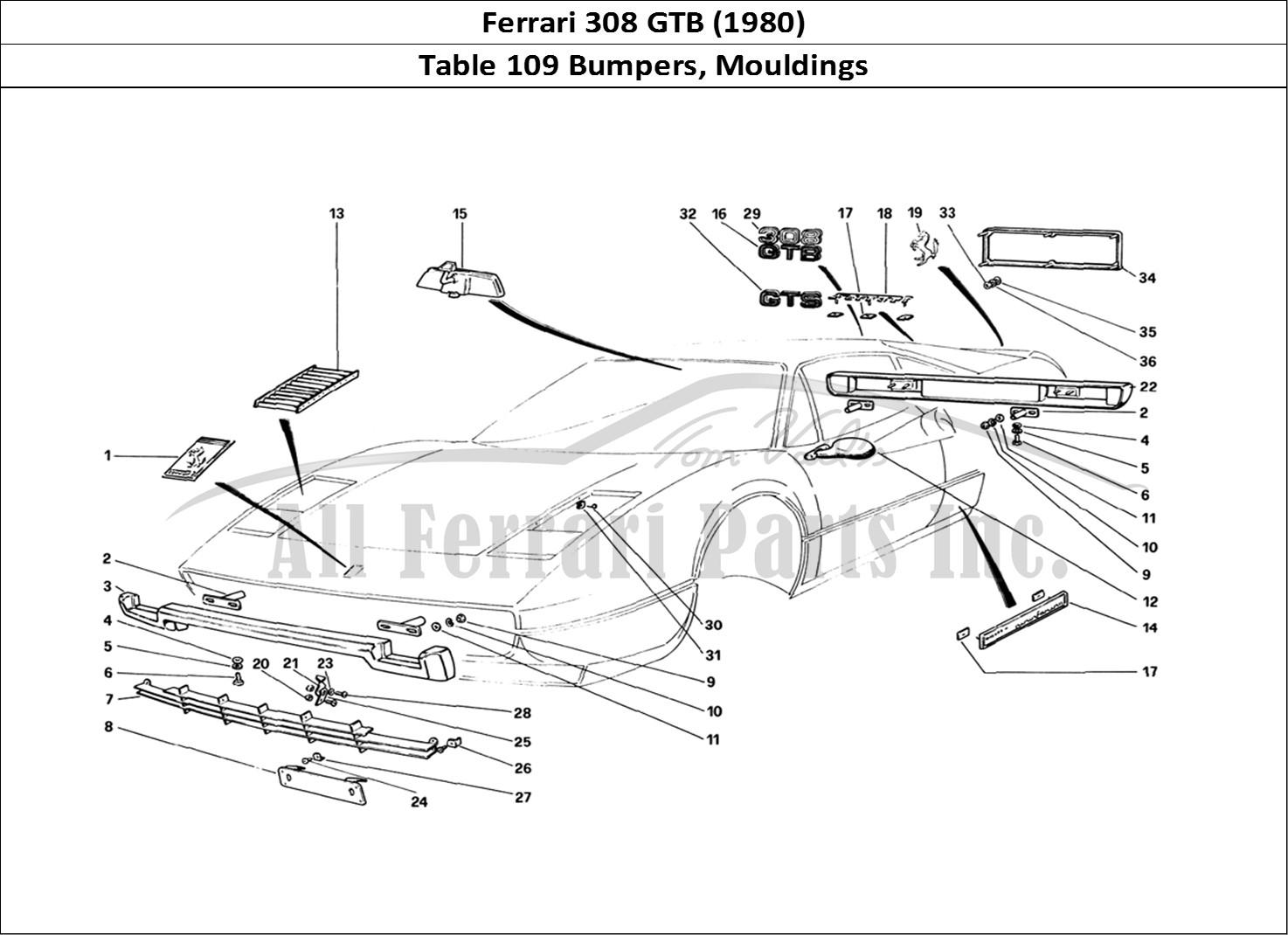 Buy original Ferrari 308 GTB (1980) 109 Bumpers, Mouldings