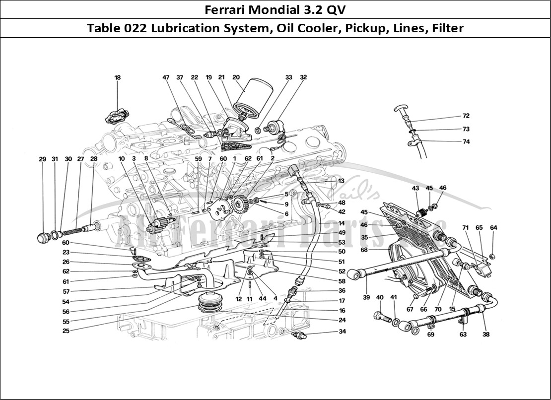 hight resolution of ferrari mondial 3 2 qv mechanical table 022 lubrication system oil cooler pickup lines filter