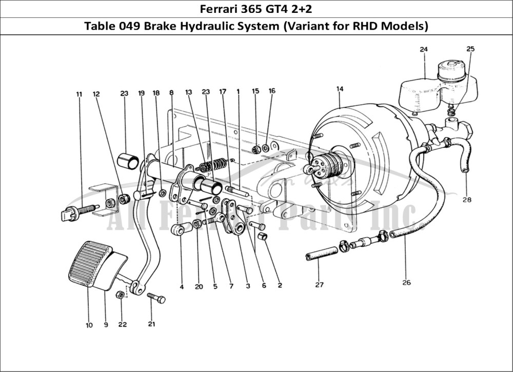 medium resolution of ferrari 365 gt4 2 2 mechanical table 049 brake hydraulic system variant for rhd models