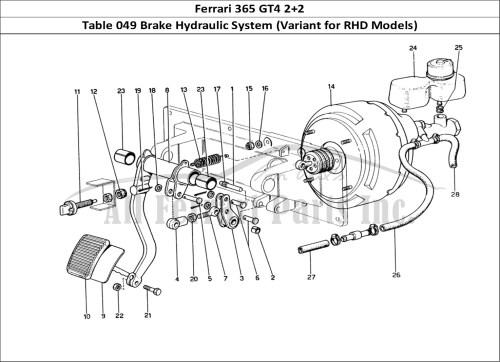 small resolution of ferrari 365 gt4 2 2 mechanical table 049 brake hydraulic system variant for rhd models