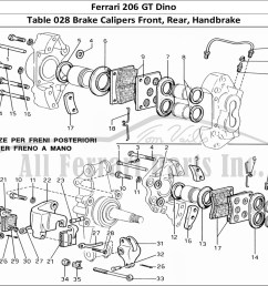 ferrari 206 gt dino mechanical table 028 brake calipers front rear handbrake [ 1474 x 1070 Pixel ]