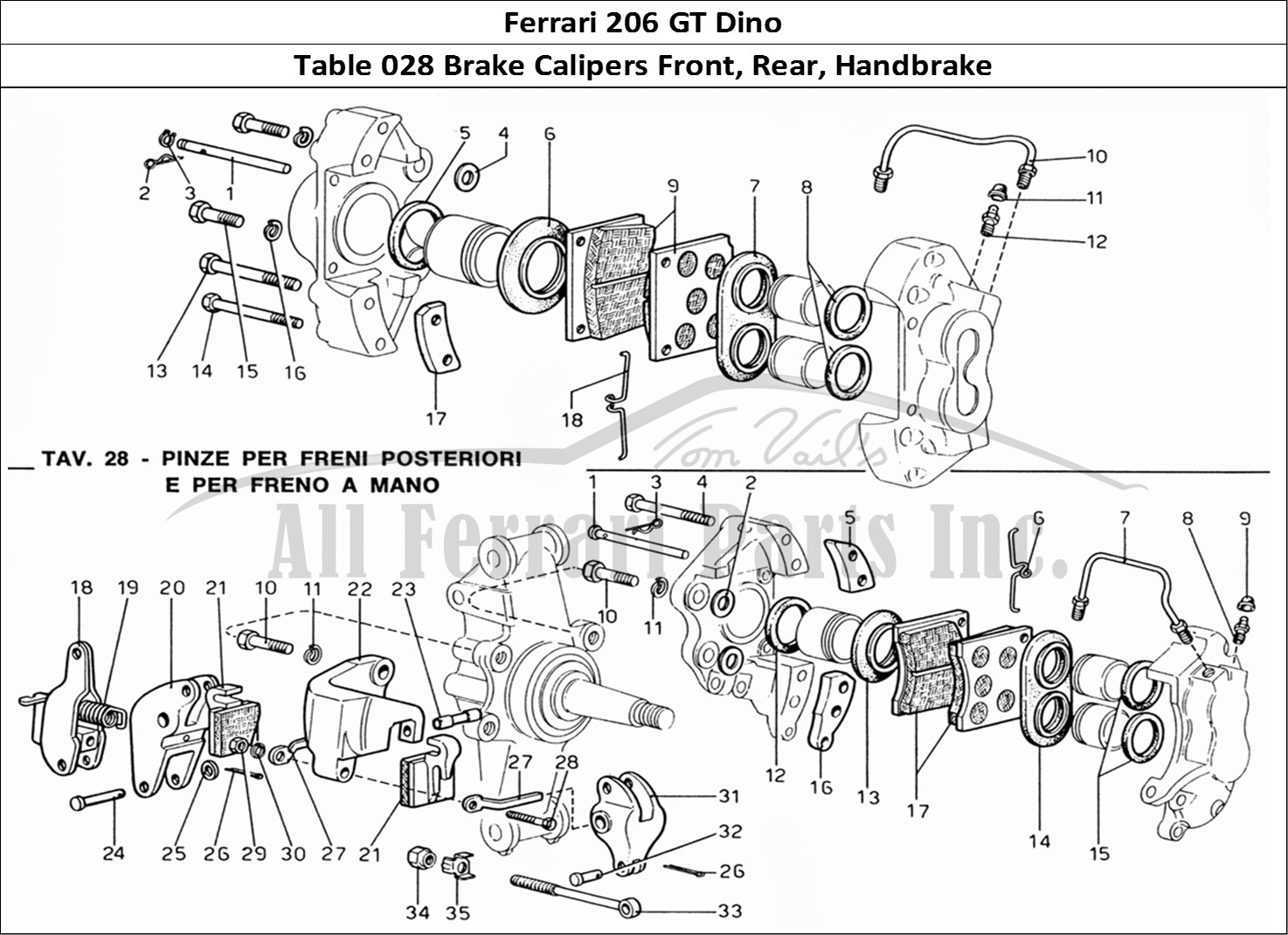hight resolution of ferrari 206 gt dino mechanical table 028 brake calipers front rear handbrake