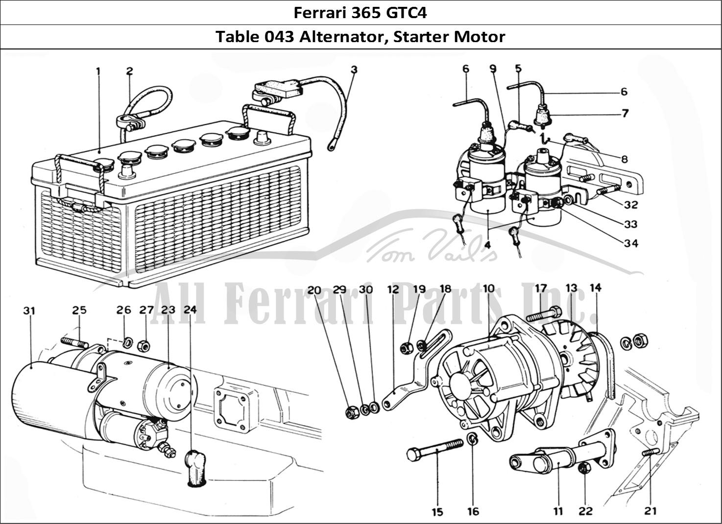 Buy original Ferrari 365 GTC4 043 Alternator, Starter