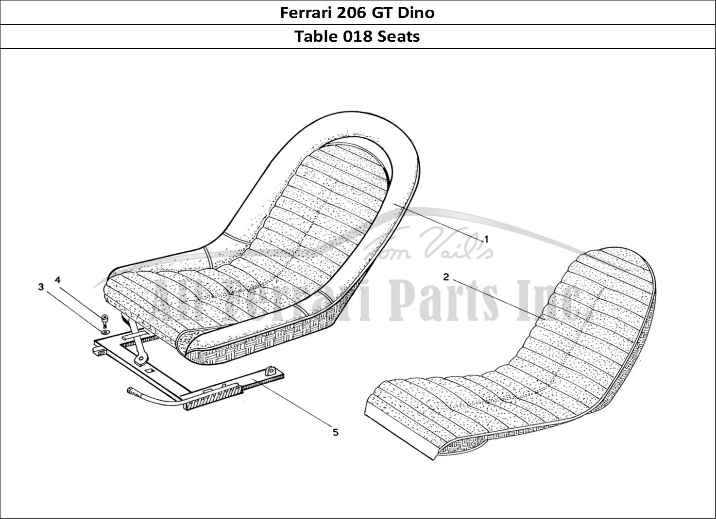 Buy original Ferrari 206 GT Dino 018 Seats Ferrari parts