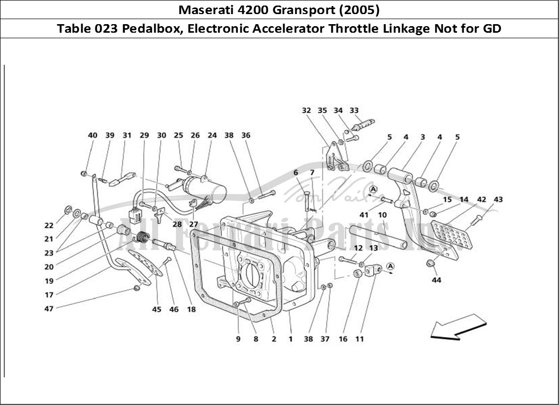 Buy original Maserati 4200 Gransport (2005) 023 Pedalbox
