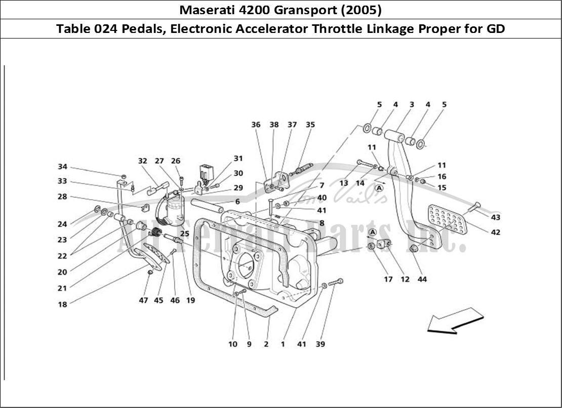 Buy original Maserati 4200 Gransport (2005) 024 Pedals