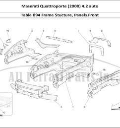 maserati quattroporte 2008 4 2 auto bodywork table 094 frame stucture panels front [ 1110 x 806 Pixel ]