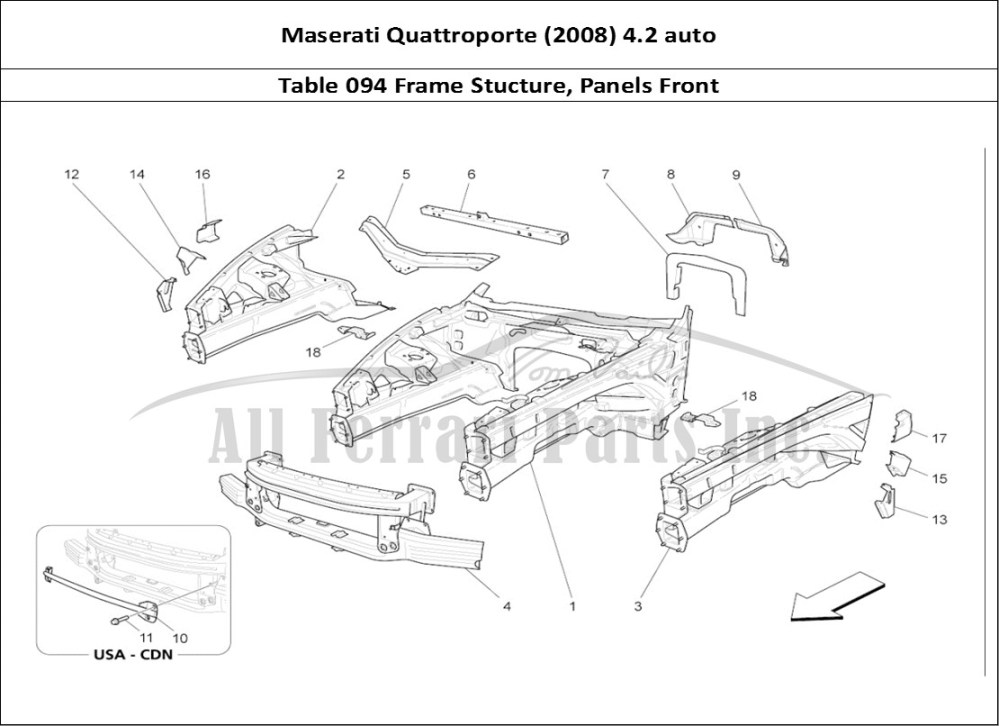 medium resolution of maserati quattroporte 2008 4 2 auto bodywork table 094 frame stucture panels front