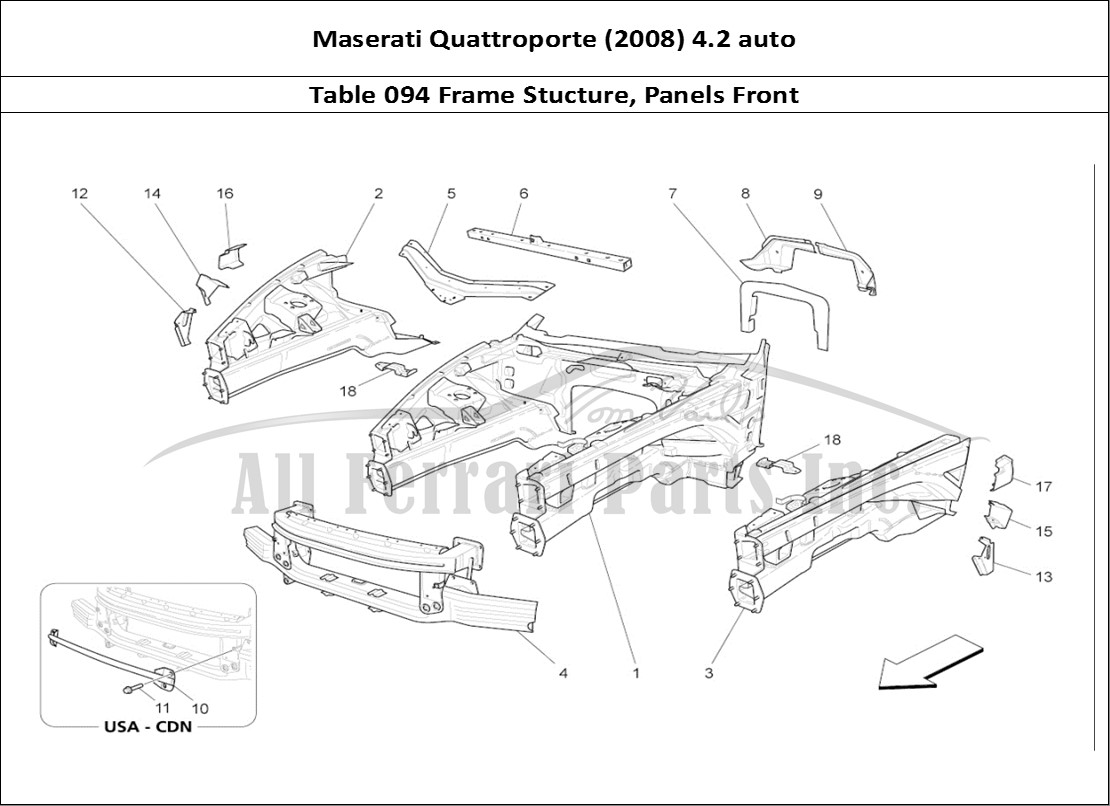 hight resolution of maserati quattroporte 2008 4 2 auto bodywork table 094 frame stucture panels front