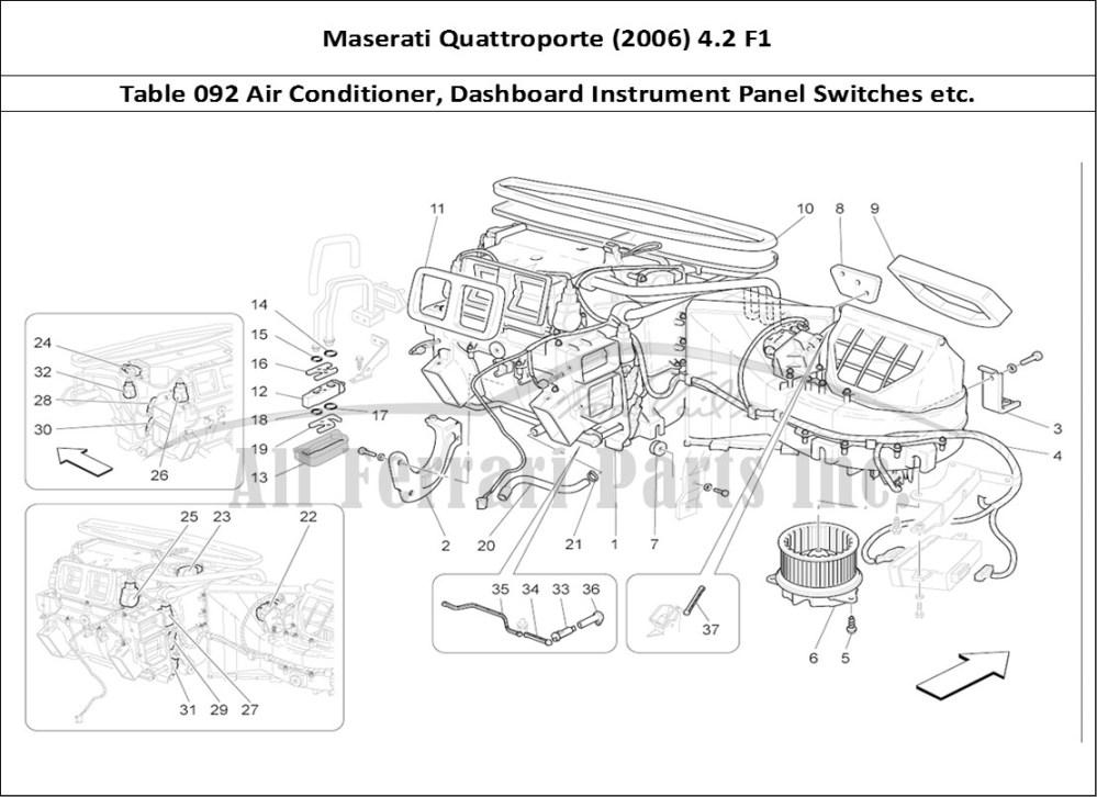 medium resolution of maserati quattroporte 2006 4 2 f1 bodywork table 092 air conditioner dashboard instrument panel switches etc
