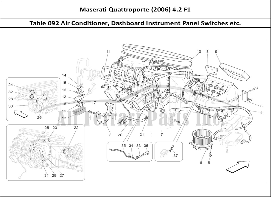 hight resolution of maserati quattroporte 2006 4 2 f1 bodywork table 092 air conditioner dashboard instrument panel switches etc