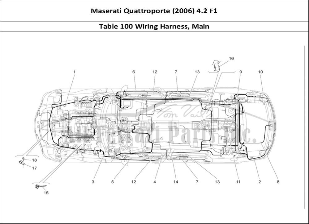 medium resolution of maserati quattroporte 2006 4 2 f1 bodywork table 100 wiring harness main