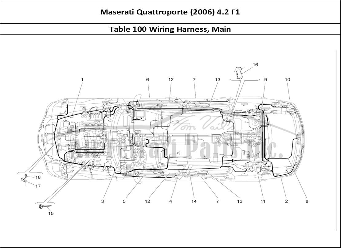 hight resolution of maserati quattroporte 2006 4 2 f1 bodywork table 100 wiring harness main