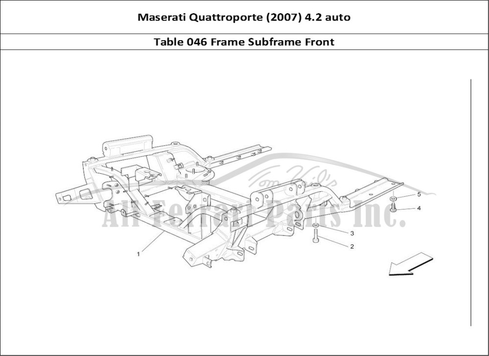 medium resolution of maserati quattroporte 2007 4 2 auto mechanical table 046 frame subframe front