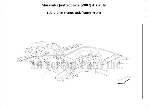 small resolution of maserati quattroporte 2007 4 2 auto mechanical table 046 frame subframe front