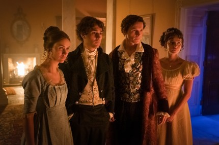 Lili Miller as Mary Wollstonecraft Godwin, Maxim Baldry as Dr John Polidori, Jacob Collins-Levy as Lord Byron, Nadia Parkes as Claire Clairmont - Doctor Who _ Season 12, Episode 8 - Photo Credit: Ben Blackall/BBC Studios/BBC America
