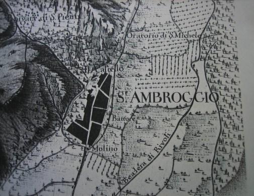 Il collegamento antico dalla via di Francia verso il Castello Abbaziale ed attraverso l'antica multtiera