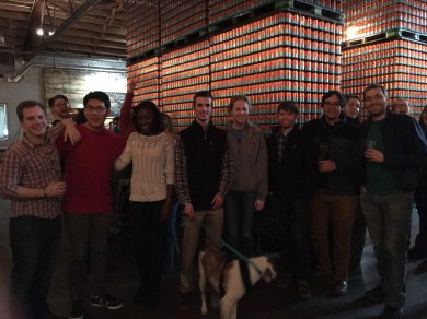 The group at Creature Comforts Brewery, January 2016