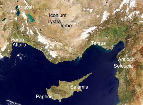 Satellite View of Area of Paul's First Journey