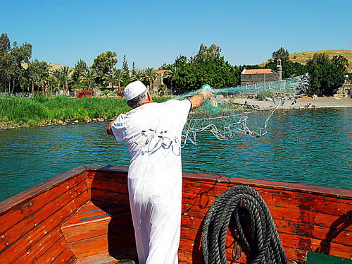 A modern fisherman on the Sea of Galilee. Photo by Ferrell Jenkins.