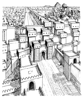 Drawing of Ancient Babylon from 1,000 Bible Images.