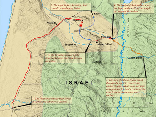 The Battle at Mount Gilboa. Bible Mapper.com.