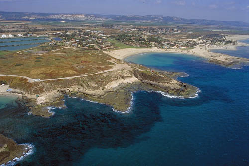 Aerial view of Tel Dor and the Mediterranean coast. Photo by Zev Radovan.